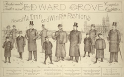 Advertisement for Edward Grove, fashionable tailor and complete outfitter
